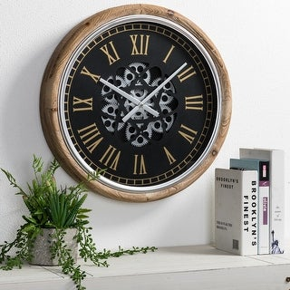"""Link to Glitzhome 20.5""""D Vintage Industral Firwood Wall Clock with Moving Gears Similar Items in Decorative Accessories"""
