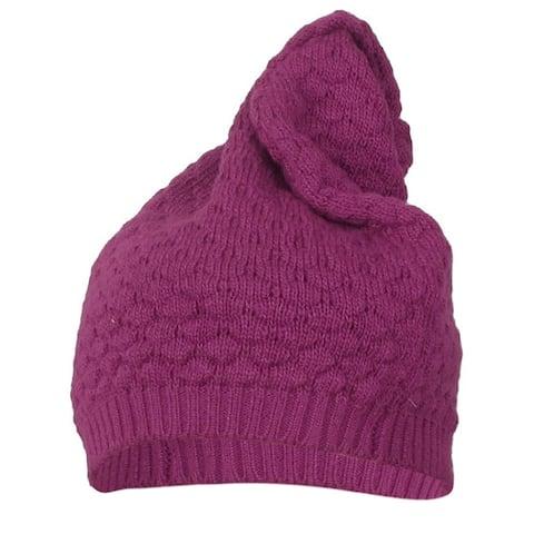 Unique Bargains Winter Head Ear Warmer Kniting Fushcia Soft Hat Cap for Lady