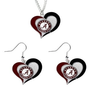Alabama Crimson Tide NCAA Swirl Heart Pendant Necklace And Earring Set Charm Gift