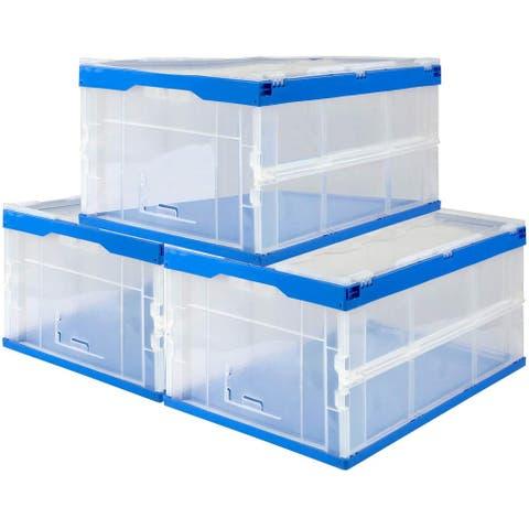 Mount-It! Folding Plastic Storage Crate, 65L (Set of 3)