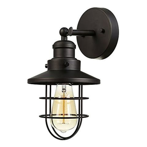 Dark bronze cage wall light fixture industrial wall sconce
