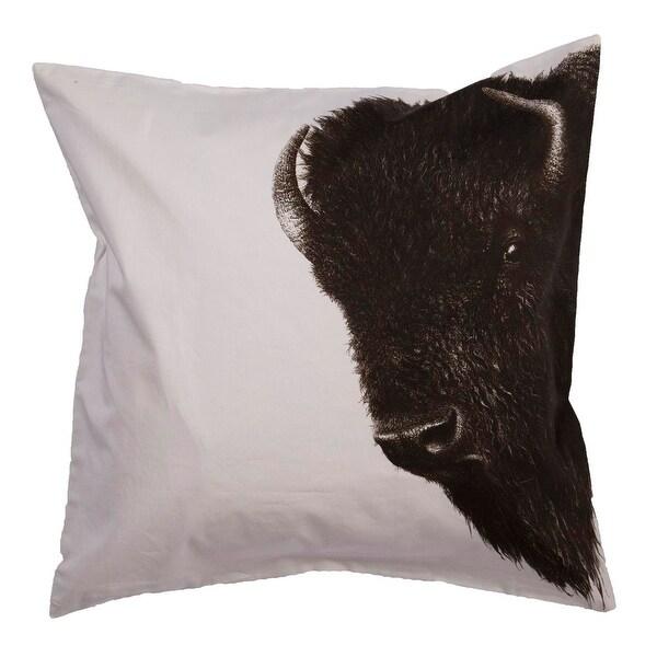 """20"""" Silvery White and Jet Black Animal Buffalo Cotton Throw Pillow"""