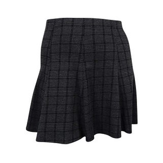 Stoosh Juniors' Elastic Waist Plaid Skater Skirt - L