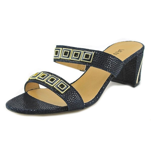 Vaneli Maureen Women Open Toe Leather Blue Sandals