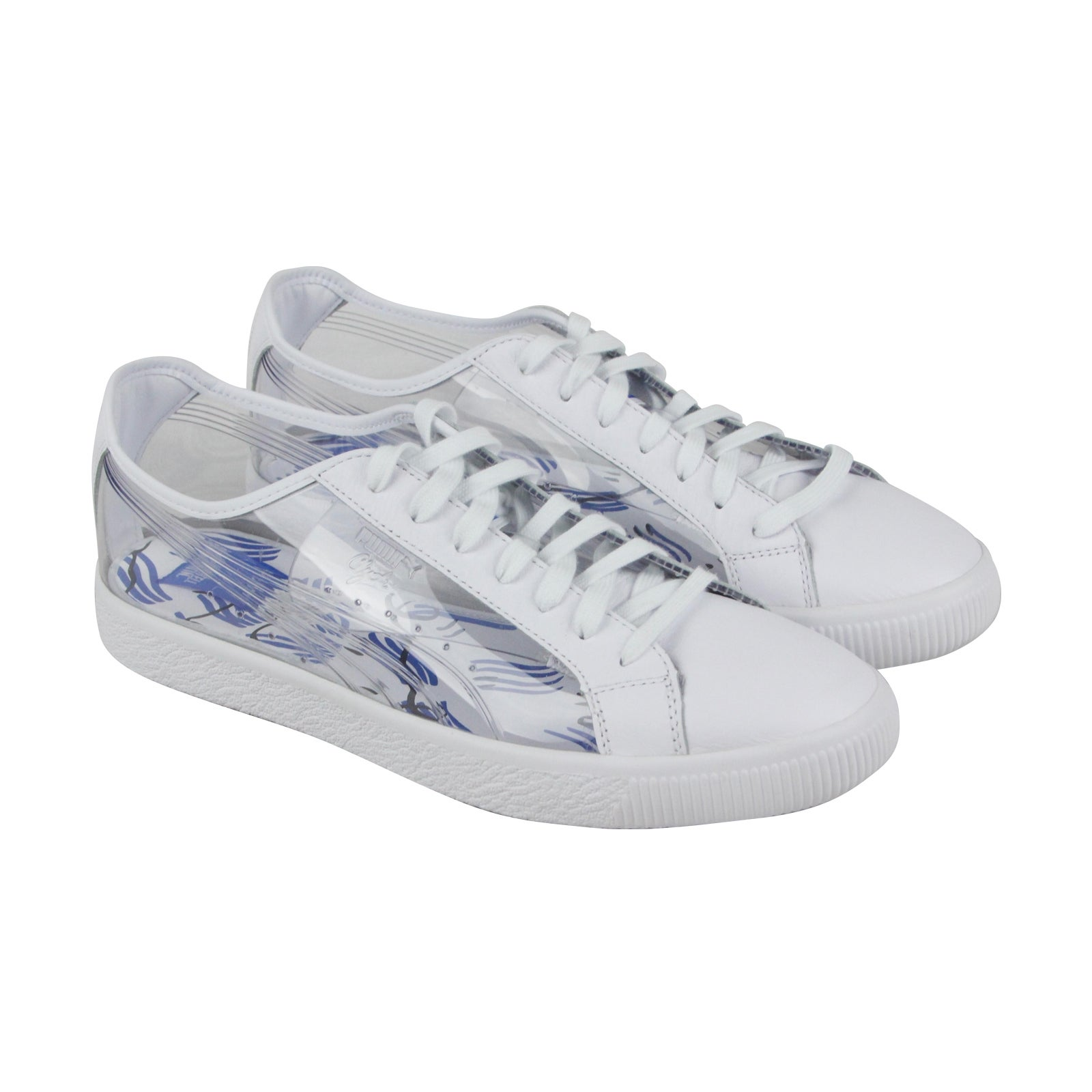 Puma Clyde Clear Sm Mens White Leather Lace Up Sneakers Shoes