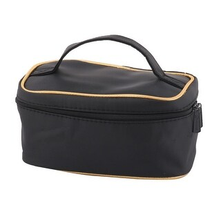 Lady Polyester Rectangle Zipper Design Toiletry Makeup Cosmetic Bag Pouch Black