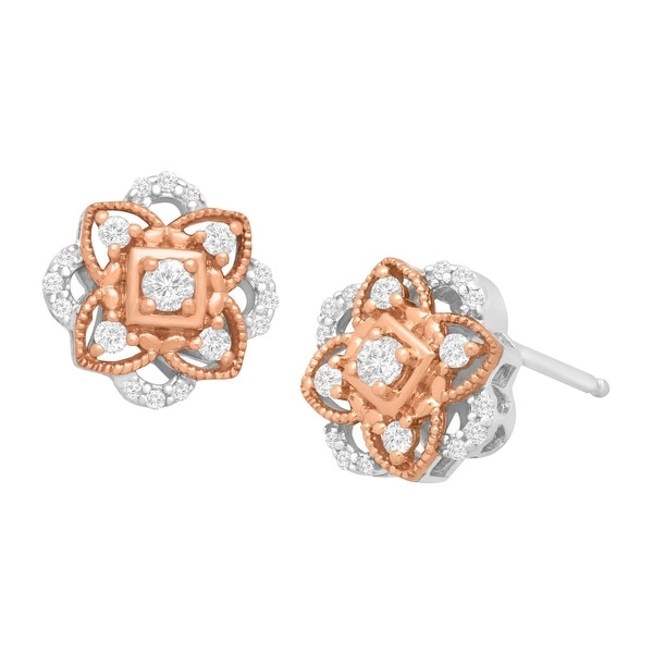 1/4 ct Diamond Rosette Stud Earrings in Sterling Silver & 14K Rose Gold