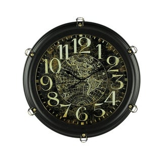 Black Metal World Map Porthole Frame Large Wall Clock - 23.5 X 23.5 X 4 inches