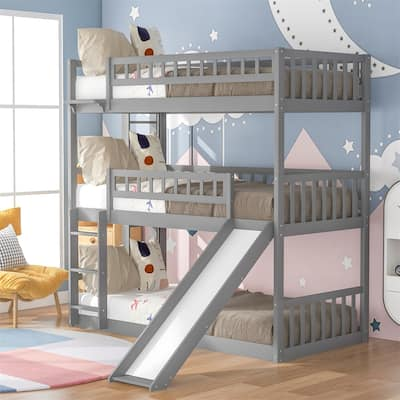 Merax Twin over Twin over Twin Bunk Bed Triple Bed with Ladder and Slide