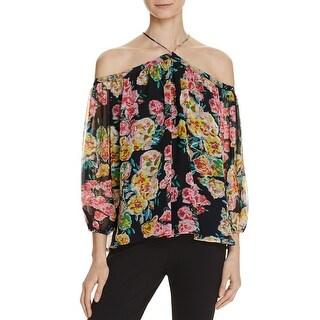Ella Moss Womens Casual Top Floral Print Cold Shoulder