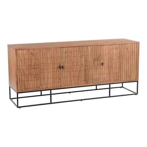 Aurelle Home Alatar Modern Solid Acacia Wood and Iron Sideboard