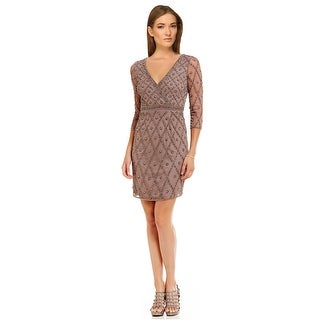 Adrianna Papell Surplice V-neck Beaded 3/4 Sleeve Cocktail Dress (2 options available)
