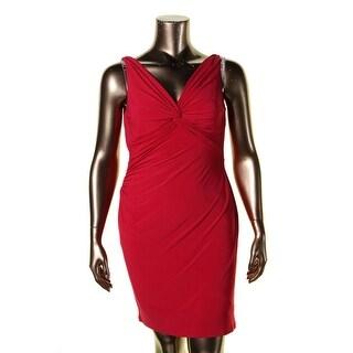 Lauren Ralph Lauren Womens Petites Ferdette Casual Dress Knot Front Ruched