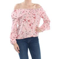 SANCTUARY Womens Pink Ruffled Long Sleeve Off Shoulder Blouse Top  Size: M