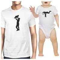 Silhouette Father Child White Matching Shirts For Dad and Baby Boy