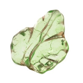 Czech Glass Beads 13 x 15mm Leaf Peridot Green With Gold (10)