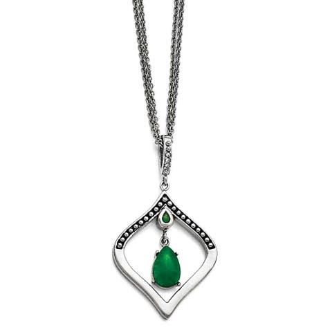 Chisel Stain.Steel Polished/Antiqued Synthetic Dyed Jade/CZ with 2in ext. Necklace - 18 in