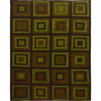 "Shahbanu Rugs Green Kilim With Square Design Pure wool Hand Woven Oriental Rug (10'1"" x 12'10"") - 10'1"" x 12'10"""