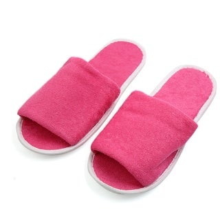 1 Pair Rose Red Foldable Disposable Slipper Hotel Spa Guest Slippers for Women