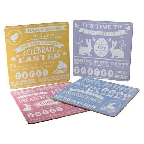 "4-Piece Set of Elegant Pastel Heavy Duty Easter Celebration Reusable Table Placemats 14"" x 14"" - Multi"