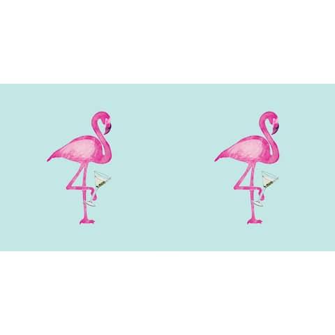 20 x 20 Inch Single Flamingo Animal Print Outdoor Pillow