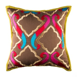 100% Handmade Imported The Royal Durbar Throw Pillow Cover, Multicolor on Brown (2 options available)