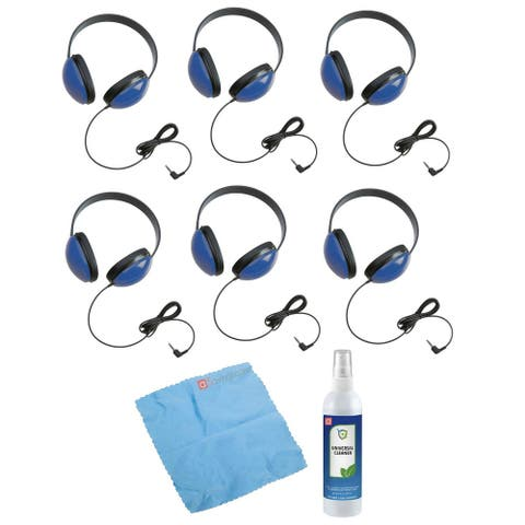 Califone 2800-BL Listening First Headphones (Set of 6) w/ Cleaning Kit