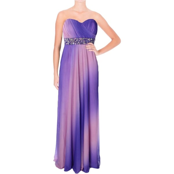 Shop Sequin Hearts Womens Juniors Formal Dress Chiffon Ombre 7