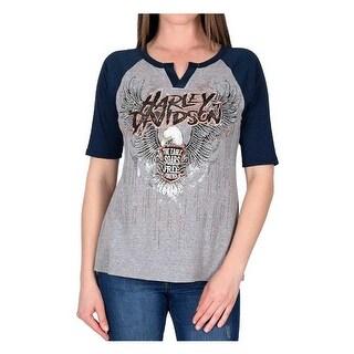 Harley-Davidson Women's Soar Free Forever Embellished Raglan Sleeve Tee, Gray