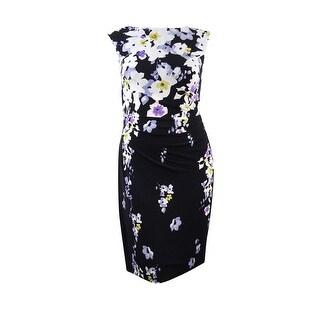 Lauren Ralph Lauren Women's Side Ruched Floral Dress - Blue/Multi