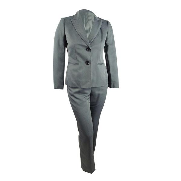 Le Suit Women's Herringbone Pantsuit (10, Steel Multi) - 10. Opens flyout.