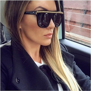 Link to Women Oversize Flat Top Chain Oversized Sunglasses Similar Items in Women's Sunglasses