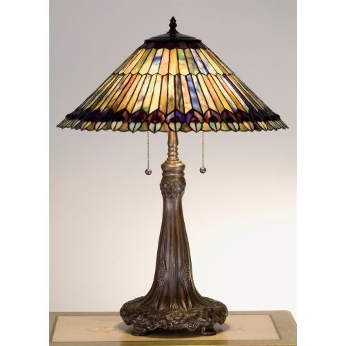Meyda Tiffany 27562 Stained Glass / Tiffany Accent Table Lamp from the Jeweled Peacock Collection - n/a