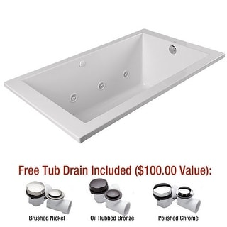 "Mirabelle MIREDW7236 Edenton 72"" X 36"" Drop-In Whirlpool Tub with Reversible Dra"