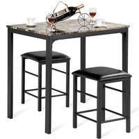 Costway 3 PCS Counter Height Dining Set Faux Marble Table 2 Chairs Kitchen Bar Furniture - Brown