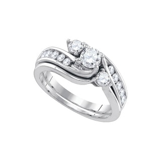 1 Ct Diamond 1/3Ct-Crd Bridal Set White-Gold 14K