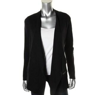 Eileen Fisher Womens Merino Wool Leather Trim Cardigan Sweater - M