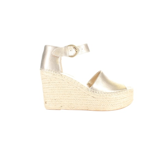 Marc Fisher Womens Alida Gold Leather Espadrilles Size 10