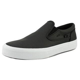 DC Shoes Trase Slip-On Men Round Toe Leather Black Skate Shoe