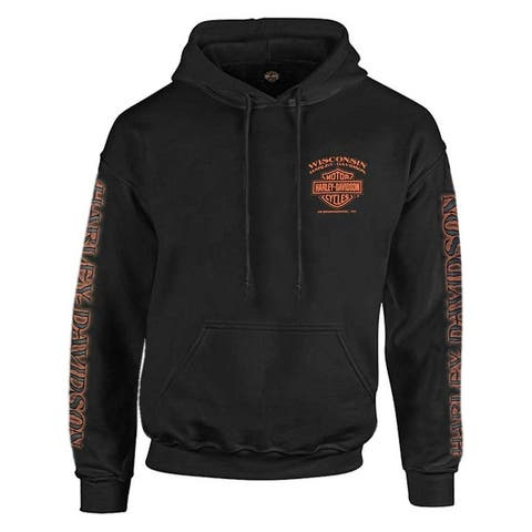 Harley-Davidson Men's Eagle Piston Long Sleeve Pullover Hoodie, Black 30299949