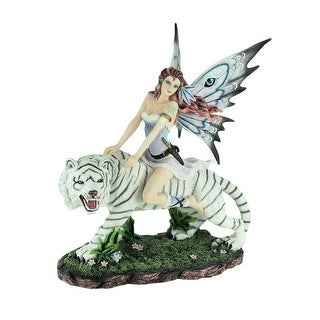 Winter Warrior Fairy On Snowy White Tiger Statue - 15.75 X 14 X 9.25 inches