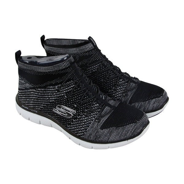 Skechers Hourglass Womens Black Textile Athletic Slip On Training Shoes