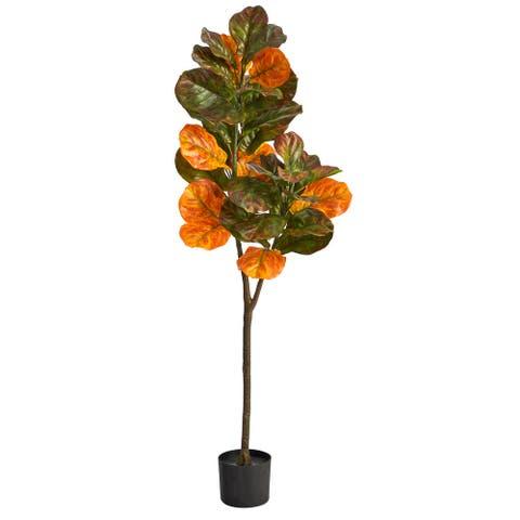 4.5' Autumn Fiddle Leaf Artificial Fall Tree