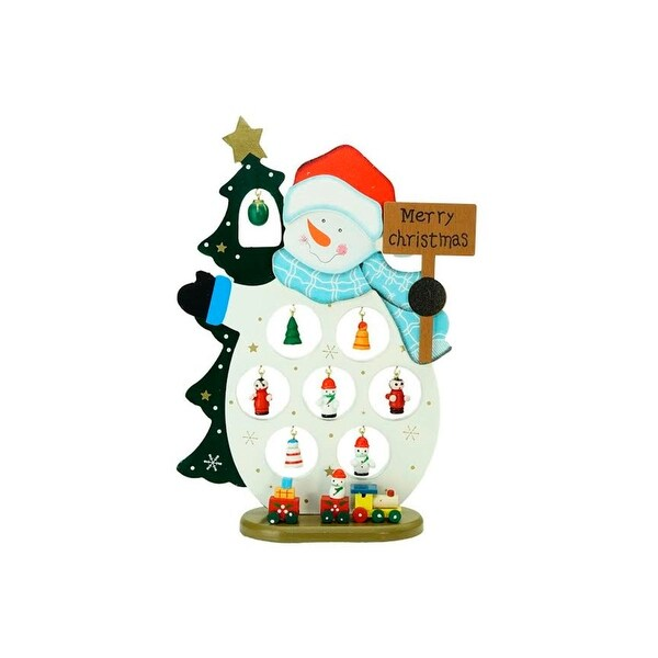 """10.25"""" Wooden Snowman """"Merry Christmas"""" Cut-Out with Miniature Ornaments Table Top Decoration - WHITE"""