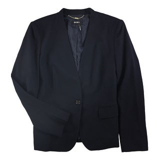 Link to DKNY Womens Collarless One Button Blazer Jacket, Blue, 12 Similar Items in Suits & Suit Separates