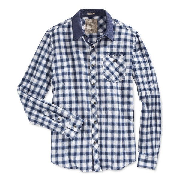 01e0593e4b1a Shop Guess NEW Blue White Mens Size Large L Check Print Button Down Shirt -  Free Shipping On Orders Over  45 - Overstock - 19787817