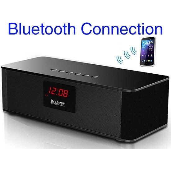 Boytone BT-87CR Portable FM Radio Alarm Clock, Wireless Bluetooth 4.1 Speaker, Built