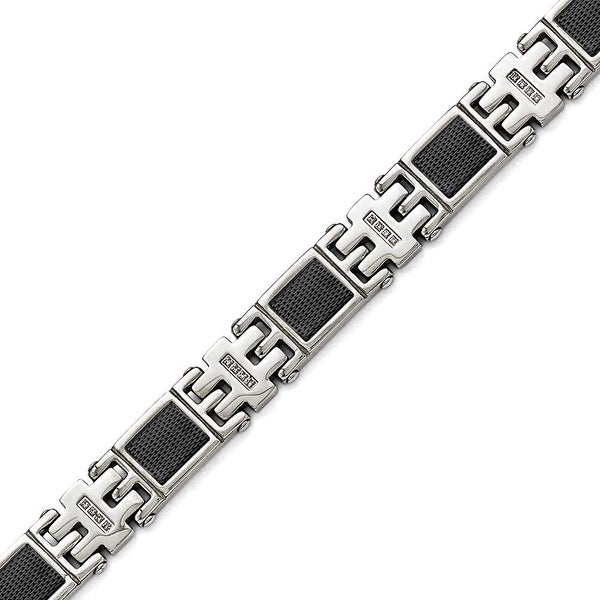 Chisel Stainless Steel Polished Black IP-plated 1/3ct tw. Diamond Bracelet