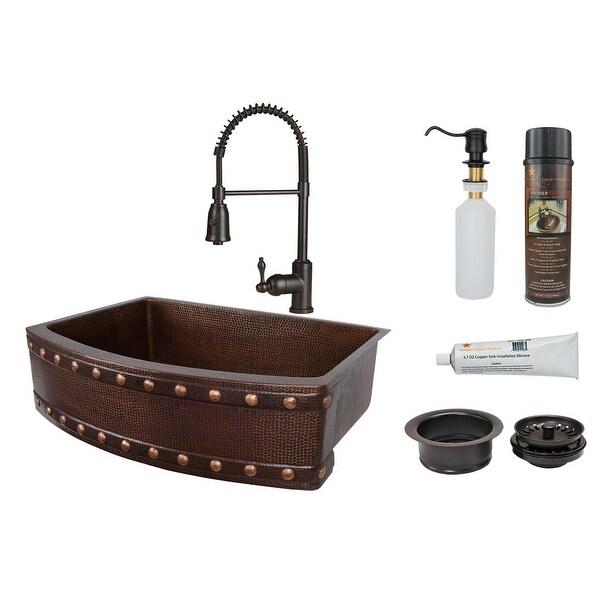"Premier Copper Products KSP4_KASRDB30249BS Barrel Strap 30"" Hammered Copper Single Basin Farmhouse Kitchen Sink with 1.8 GPM"