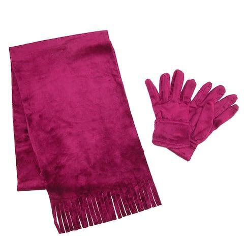 Grand Sierra Girl's 7-16 Furry Fleece Scarf and Glove Set